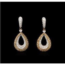 3.62ctw Diamond Earrings - 18KT White Gold