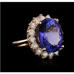 14KT Rose Gold 14.31ct Tanzanite and Diamond Ring