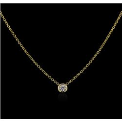 14KT Yellow Gold 0.09ct Diamond Solitaire Necklace