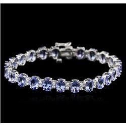 14KT White Gold 17.24ctw Tanzanite and Diamond Bracelet