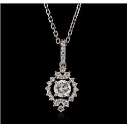 18KT White Gold 0.80ctw Diamond Pendant with Chain