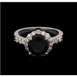 1.78ct Green Tourmaline and Diamond Ring - 14KT White Gold