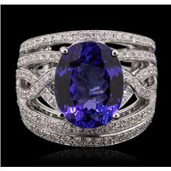 14KT White Gold 5.56ct Tanzanite and Diamond Ring