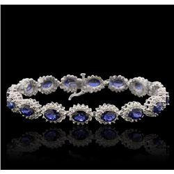 14KT White Gold 12.96ctw Sapphire and Diamond Bracelet