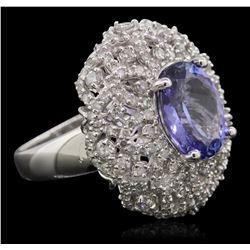 14KT White Gold 3.32ct Tanzanite and Diamond Ring