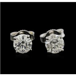 1.20ctw Diamond Stud Earrings - 14KT White Gold