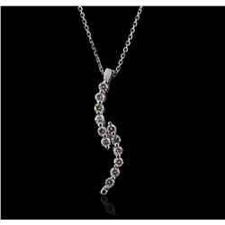 14KT White Gold 0.30ctw Diamond Pendant With Chain