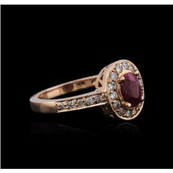 14KT Rose Gold 0.78ct Ruby and Diamond Ring
