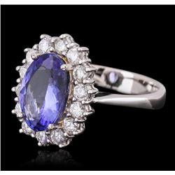 14KT White Gold 2.80ct Tanzanite and Diamond Ring