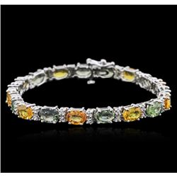 14KT White Gold 14.81ctw Sapphire and Diamond Bracelet