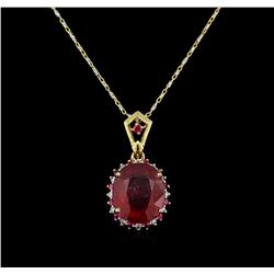 6.98ctw Ruby and Diamond Pendant With Chain - 14KT Two-Tone Gold