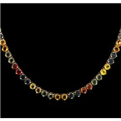 37.08ctw Multi Color Sapphire Necklace - 14KT Yellow Gold