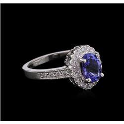 1.48ct Tanzanite and Diamond Ring - 14KT White Gold