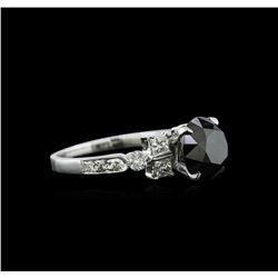 3.51ctw Black Diamond Ring - 18KT White Gold