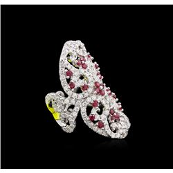 1.30ctw Ruby and Diamond Ring - 14KT White Gold