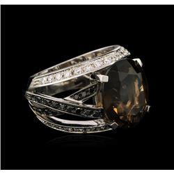 8.80ct Smoky Quartz and Diamond Ring - 18KT White Gold