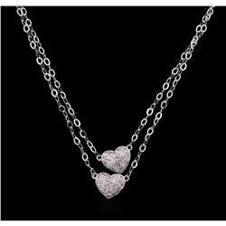 0.40ctw Diamond Heart Necklace - 14KT White Gold