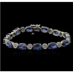 20.41ctw Blue Sapphire and Diamond Bracelet - 14KT White Gold