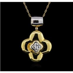 0.50ctw Diamond Pendant With Chain - 18KT Two-Tone Gold