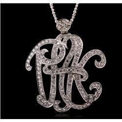 14KT White Gold 4.50ctw Diamond Monogram Pendant With Chain