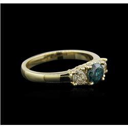 14KT Yellow Gold 0.96ctw Blue Diamond Ring