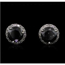 3.36ctw Fancy Black Diamond Earrings - 14KT White Gold
