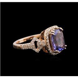 2.85ct Tanzanite and Diamond Ring - 14KT Rose Gold