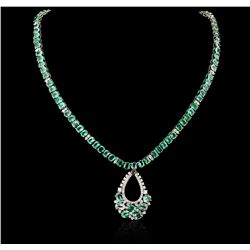 14KT White Gold 29.36ctw Emerald and Diamond Necklace and Earring Suite