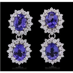 14KT White Gold 10.92ctw Tanzanite and Diamond Earrings