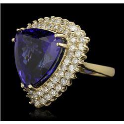 14KT Yellow Gold 21.69ct GIA Cert Tanzanite and Diamond Ring