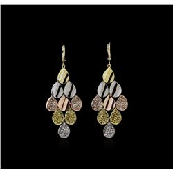 14KT Tri-Color Gold 2.23ctw Diamond Earrings