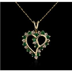 14KT Yellow Gold 0.80ctw Emerald and Diamond Pendant With Chain