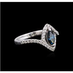 14KT White Gold 0.75ctw Blue Diamond Ring