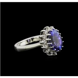 4.25ct Tanzanite and Diamond Ring - 14KT White Gold