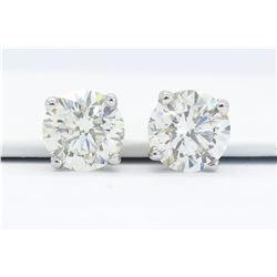 GIA Certified 2.11ctw Diamond Stud Earrings - 14K White Gold