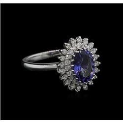 2.00ct Tanzanite and Diamond Ring - 14KT White Gold