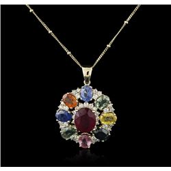 14KT Yellow Gold 4.42ct Ruby, Sapphire and Diamond Pendant With Chain