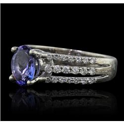 18KT White Gold 1.38ct Tanzanite and Diamond Ring