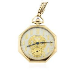 Waltham 14KT Yellow Gold Open Face Pocket Watch