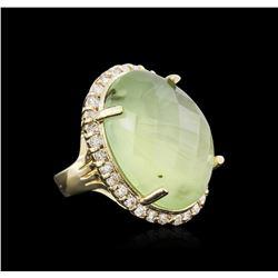 14KT Yellow Gold 32.12ct Green Tourmaline and Diamond Ring