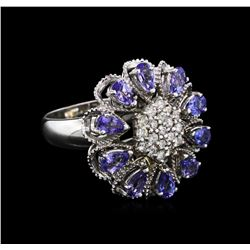 2.80ctw Tanzanite and Diamond Ring - 14KT White Gold
