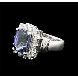 14KT White Gold 3.54ct Tanzanite and Diamond Ring