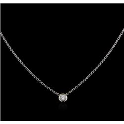 14KT White Gold 0.15ct Diamond Solitaire Pendant With Chain