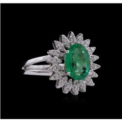 14KT White Gold 1.53ct Emerald and Diamond Ring