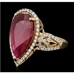 14KT Yellow Gold 8.67ct Ruby and Diamond Ring