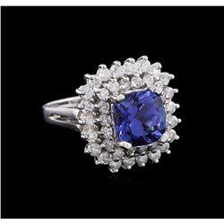 2.97ct Tanzanite and Diamond Ring - 14KT White Gold