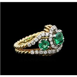 1.87ctw Emerald and Diamond Ring - 18KT Yellow Gold