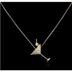 14KT Yellow Gold 0.15ct Peridot and Diamond Pendant With Chain