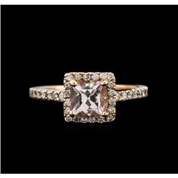 1.00ct Morganite and Diamond Ring - 14KT Rose Gold