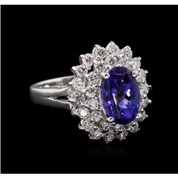 2.43ct Tanzanite and Diamond Ring - 14KT White Gold